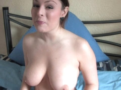 Free down blouse video of a lovely brunette showing jugs