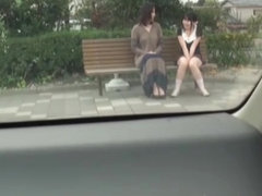 Asian teens sitting on the bench and flashing panty upskirts