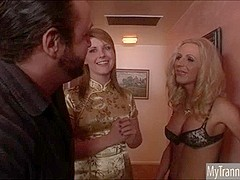 Blonde TS prostitute Juliette Stray deepthroats cock and anal
