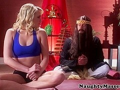 Flexible yoga student facizlized by her guru