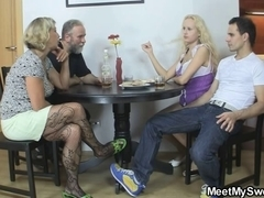 Her cunt receives licked and drilled by his parents