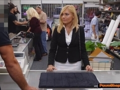 Milf wants to pawn office belongings and earn extra by fucking