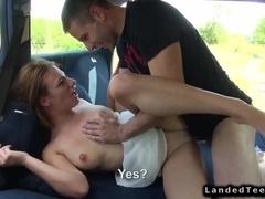 Hungarian hitchhiking couple fucking in car