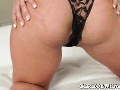 Bigbooty interracial babe takes cum in mouth