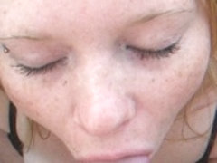 Hot blowjob from my freckled gf