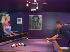 Gorgeous babe Delta White seduces a guy over pool game