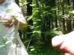 Naked in the forest and jerking off to a mushroom picker