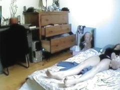 Slender bodied amateur masturbating on hidden cam