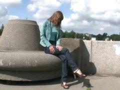 Our voyeur cam shot this super hot model-thin girl teasing