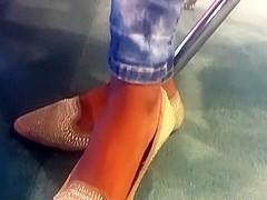 Candid ebony feet in flats pt