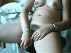 I play with a dildo in homemade masturbating vid