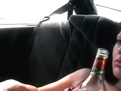 Canned slut gives taxi driver spycam masturbation