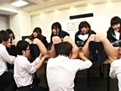 A group of Japan babes being fingered