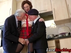 Stockings milf has threesome