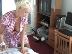 Young chick with big melons makes cleaning in the bedroom