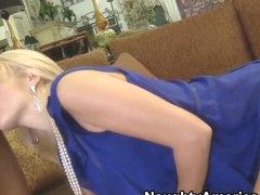 Naughty blonde slut Monique Alexande deep throats a huge cock before a fuck
