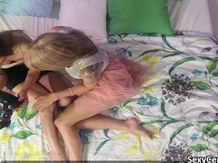 Two lesbians playing in bedroom