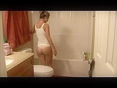 Consummate non-professional cutie in nature's garb shower movie scene HardSexTube