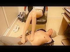 Chinese pantyhose footjob