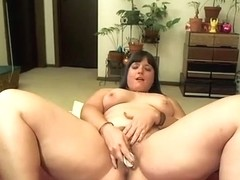 Hairy snatch slammed with a toy