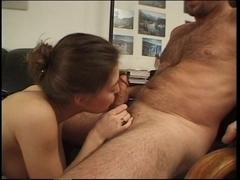 Brunette Hair girl gives a sizzling oral-job
