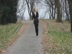 Blonde stripping and flashing her tits in public forest