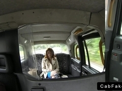 Natural busty and hairy amateur bangs in fake taxi