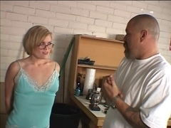 Angel in glasses with precious naturals, enjoys some S&M act