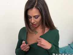 Girlfriend in pajama gets anal fuck