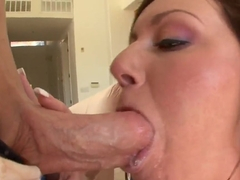 Busty MILF Valerie Luxe sucks the strong dick and jumps on it