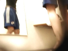 Girl stealthily spied washing tits after morning running
