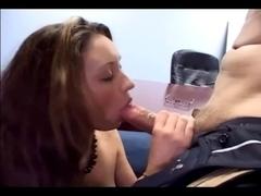 Hawt secretary sex in a brassiere garter and nylons
