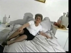 Dirty granny shows off and masturbates