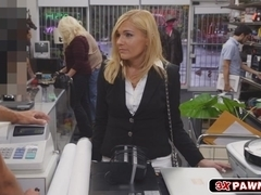 Stunning MILF shakes her perfect ass and fucked deep inside the pawnshop back office