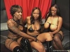 Busty Black Women In All Girl Threesome