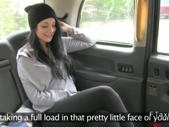 Beautiful amateur has hard orgasms in fake taxi