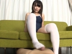 Japanese Swimsuit & Kneesocks Footjob - AGEMIX-169b