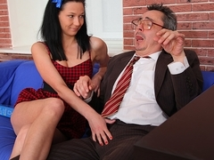 TrickyOldTeacher - Teacher receives wet blowjob and fucks sexy student and gives A