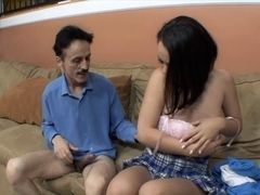 Mature stud likes to fuck this hawt juvenile hottie with merry wobblers in her cum-hole