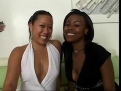 Ebon and Oriental Lesbian Babes