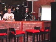 Barman giving hard anal fuck to the panty girl