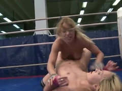 Nude blonde babes Nataly Von and Nikky Thorne fight