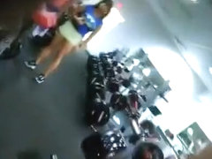 Firm muscular body checked out in a gym