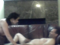 Cheating Brunette Housewife Getting Banged By Two Guys