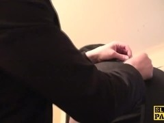 Cumswallowing sub gets hands and legs bound