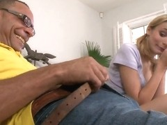Slim blonde amateur Karmen Blaze sucked the monster cock dry