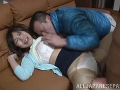 Delicious Asian babe Saki Mizumi in hot threesome sex