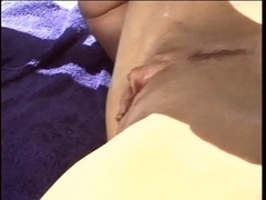 Tall blond wife with outstanding love bubbles receives her muff fingered poolside