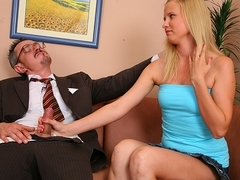 TrickyOldTeacher - Hot blonde student has shaved pussy fucked by older horny teacher