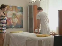 Titted gal sex massage masturbates and sucks